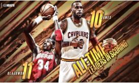 詹姆斯26947分超越奧拉朱旺 躋身NBA歷史排名前十